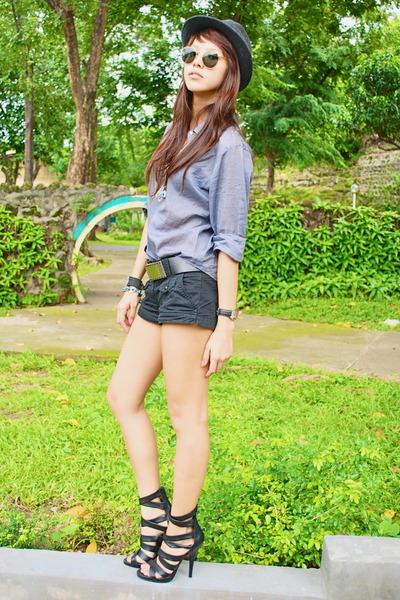 black H&M shorts - black fedora Zara - black belt - gray polo from hong kong