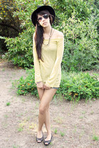 black Forever 21 hat - yellow random from Bangkok sweater - denim random from Ba
