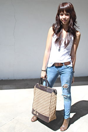 white Topshop top - denims DIY - brown leather Gap belt - brown heels Forever 21