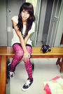 White-ntice-black-forever-21-top-pink-betsey-johnson-tights-black-vans