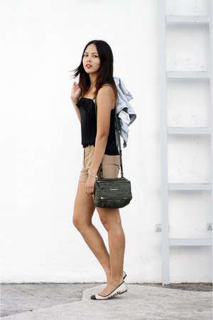 dark green Givenchy bag - tan Zara shorts - black flounce chiffon Topshop top