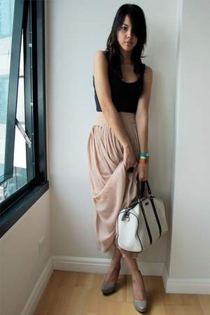light pink Forever 21 skirt - white Gucci bag - tan Charles & Keith pumps