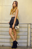black peplum Zara skirt - black Parisian boots