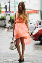 salmon mullet Mango dress - white Gucci bag - gold skinny Nava belt