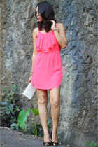 hot pink American Eagle dress - black gold toe capped CMG pumps