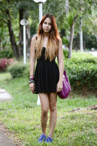black Topshop dress - blue suede Anna Sui x Hush Puppies shoes