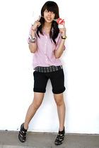 black Topshop shorts - black Topshop - Zara - silver Random accessories