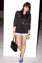 black blazer - black Topman t-shirt - Urban Outfitters shorts - black - blue Cha