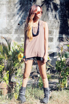 light brown WAGW top - charcoal gray Forever 21 boots - Mango shorts