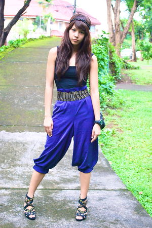 purple vintage pants - black chain headband Forever 21