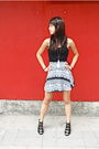 Black-urban-outfitters-top-american-apparel-skirt-black