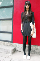 white H&M shoes - black sweater Topshop dress - off white Topshop bag