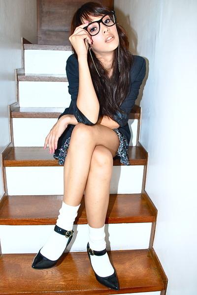 black Charlotte Russe skirt - black blazer - white socks