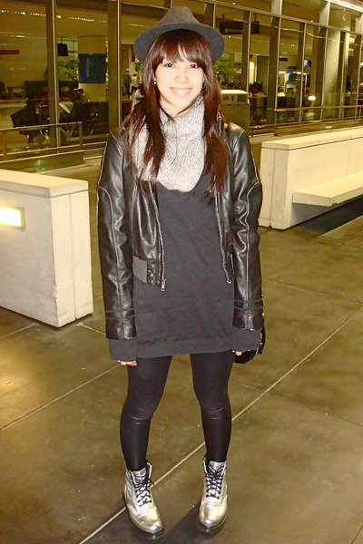 black Zara - black jacket - black Topshop sweater - black Forever 21 leggings -