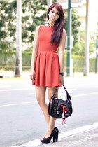 brick red Topshop dress - dark brown Louis Vuitton bag