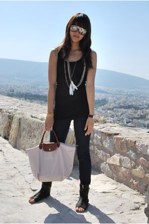 black Forever 21 top - Zara TRF - black Zara - beige longchamp - Rocawear