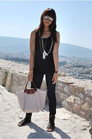black Forever 21 top - Zara TRF - black Zara - beige longchamp - Rocawear