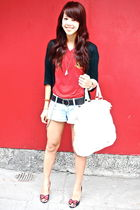 black cardigan - red SPAIN JERSEY - Forever 21 shorts - white lulu - black Betse
