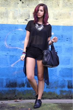 black leather Zara boots - black Alexander Wang bag