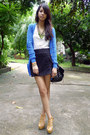 Blue-forever-21-cardigan-black-studded-parisian-bag