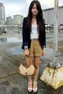 Black-zara-blazer-tan-gucci-bag-brown-paper-bag-forever-21-shorts