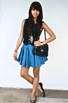 black Topshop vest - black H&M - blue H&M skirt - black Michael Kors - black Guc