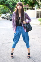 light purple leopard print Jellybean cardigan - black glam Glitterati shoes