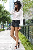black leather Topshop shorts - white lace Topshop top