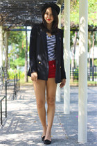 black Mango blazer - red denim cotton on shorts
