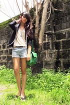 chartreuse Therapy bag - black Mango blazer - denim Forever 21 shorts