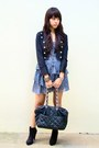 Light-purple-floral-printed-topshop-dress-black-band-glitterati-jacket