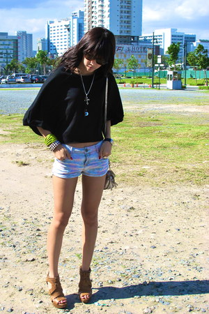 babo top - Topshop shorts - Zara heels - Topshop bag - People are Peoplr