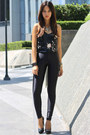 Black-sequined-topshop-top-black-disco-american-apparel-pants