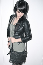 black studded leather Carbon jacket - black heels Topshop