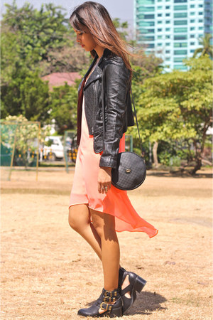 black Forever 21 boots - salmon Mango dress - black leather Salad jacket