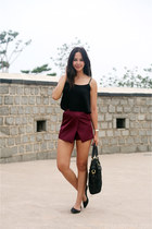 black Prada bag - crimson Topshop shorts - black Topshop top