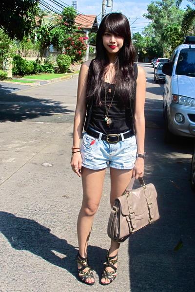 tan Topshop bag - black studded Parisian heels
