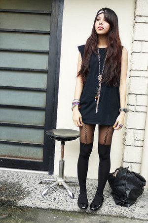 black American Apparel shorts - black Topman t-shirt - black Topshop stockings