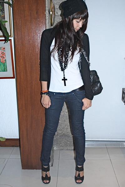 black Forever 21 - black cardigan - white Topshop - H&M - black Aldo