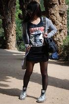 gray Topshop cardigan - black - black H&M - black stockings - silver doc martens