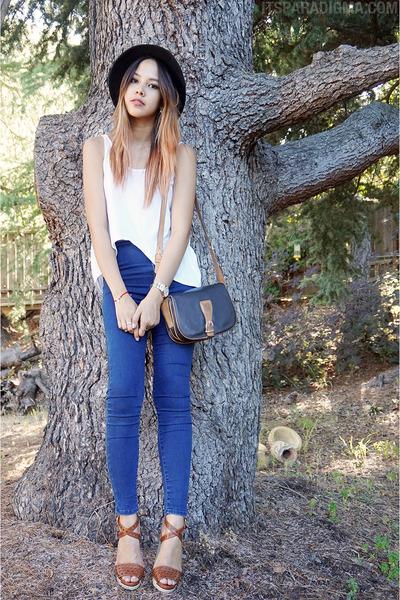 black wide brimmed Forever 21 hat - black Celine bag - brown Fendi heels
