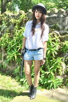 black Forever 21 - white from hong kong - black scarf - Forever 21 shorts - blac