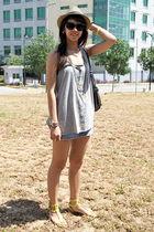 Zara - gray Topshop top - Topshop skirt - yellow Randomly found in Hong Kong - s