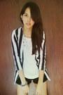 Striped-what-a-girl-wants-blazer-black-american-apparel-shorts