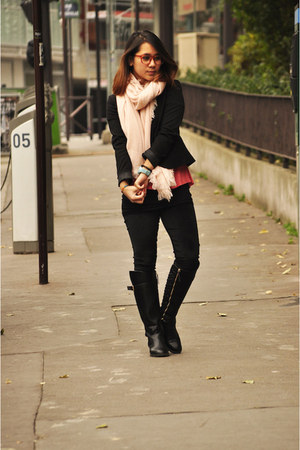 black Zara boots - dark gray Topshop leggings - black H&M blazer