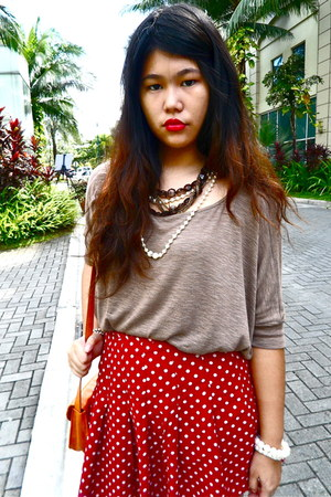 red Forever 21 skirt - light brown knit Forever 21 top