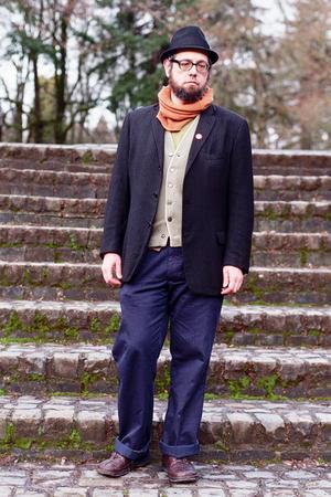 black jacket - orange little package scarf - green roos atkins cardigan - blue v