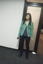 green Dorothy Perkins jacket - blouse - black shoes - black pants - dress - gold