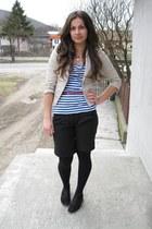 beige blazer - black menswear shoes - black shorts - blue navy blouse
