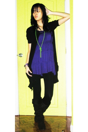 H&amp;M dress - giordano jacket - sm department store leggings - shoes